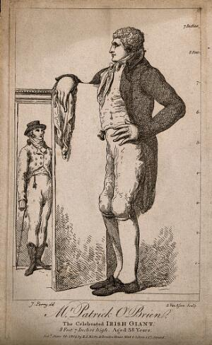 view Patrick O'Brien, a giant. Etching by A. van Assen, 1804, after J. Parry.