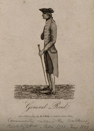 view General John Reid, a very thin man. Engraving, 1813.