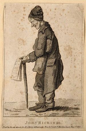 view John Richards, a blind beggar. Etching, 1803, after J. Nixon.