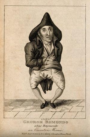 view George Romondo, an eccentric mimic. Engraving by G. Scott, 1805.