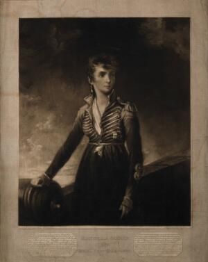 view Manuela Sancho, a heroine in the defence of Saragossa in 1809, aged 24. Mezzotint by H. Meyer, 1811, after L. Hoppner.