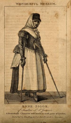 view Anne Siggs, an eccentric lame beggar. Engraving, 1804.