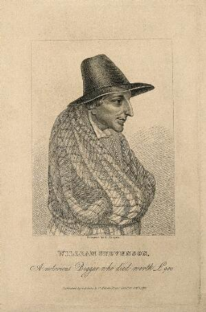 view William Stevenson, a hoarding beggar. Stipple engraving by R. Cooper, 1821.
