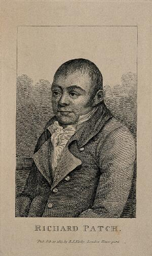view Richard Patch, hanged for murder. Line engraving, 1813.