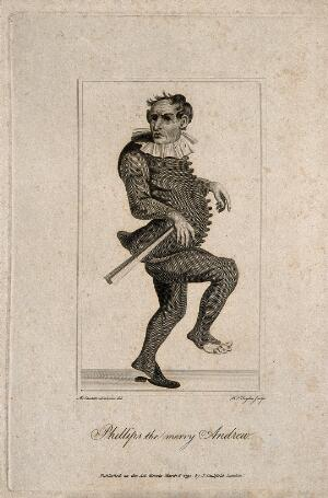view Phillips, a clown, known as 'the Merry Andrew'. Line engraving by W.J. Taylor, 1792, after M. Laroon.