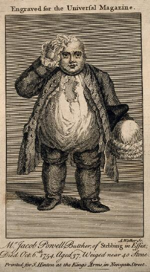 view Jacob Powell, who died weighing almost 40 stone. Line engraving by A. Walker.