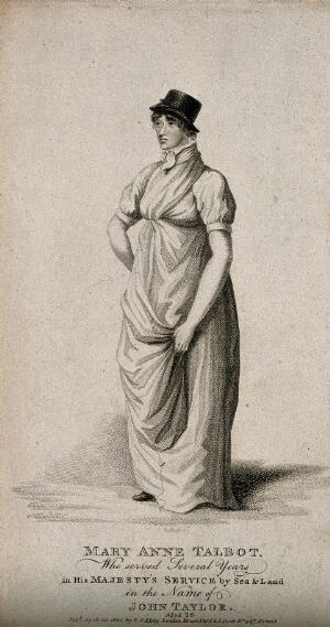 view Mary Anne Talbot, a woman who passed as a male soldier and sailor. Engraving by G. Scott, 1804.