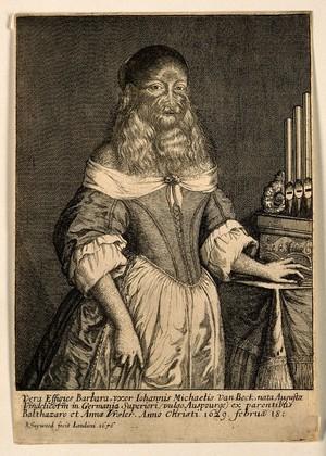 view Barbara van Beck, a hirsute woman. Etching by R. Gaywood, 1656.
