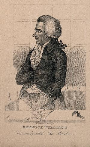 view Renwick Williams, a man convicted of wounding women. Reproduction of a stipple engraving.