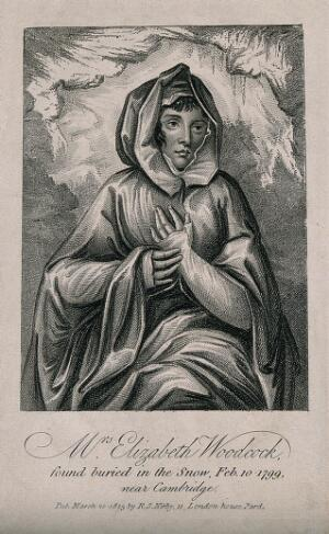 view Elizabeth Woodcock, depicted as found after having survived being buried in snow for eight days, aged 42. Stipple engraving, 1813.