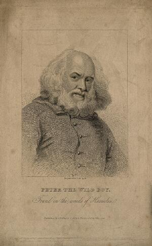 view Peter, the wild boy, as an older man. Stipple engraving by R. Cooper, 1821.