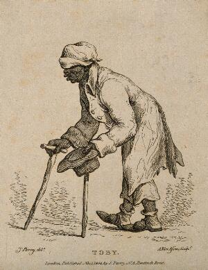 view Toby, a man who pretended to be blind and lame. Etching by A. van Assen, 1804, after J. Parry.