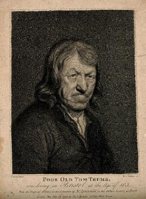 view Poor Old Tom Thumb, a centenarian. Stipple engraving by W.N. Gardiner, 1790, after T. Barker.