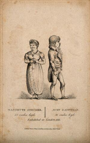 view Nannette Stocker and John Hauptman, dwarf musicians exhibiting together in London. Stipple engraving, 1815.