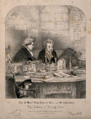 view Sarah Ponsonby (left)and Lady Eleanor Butler, recluses known as the Ladies of Llangollen, seated in their library. Lithograph by R.J. Lane, ca. 1832, after Mary Parker (later Lady Leighton), 1828.