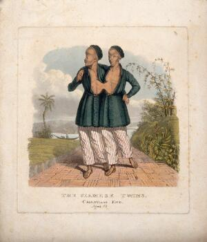 view Chang and Eng the Siamese twins, aged 18, in an oriental landscape. Coloured aquatint.