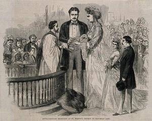 view The marriage of Captain Martin van Buren to Anna Swan. Wood engraving, 1871.