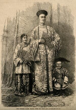 view Chang Yu-sing the Chinese giant, with his wife, King-Foo and Chung Mow, a dwarf. Wood engraving, 1865.