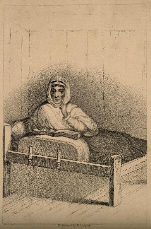 view A woman in bed, apparently with an arm missing. Stipple engraving by R. Cooper.