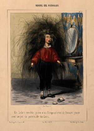view A boy with incredibly long hair growing from his head and hands as a result of playing with a hair restorer. Coloured lithograph by P. Gavarni.