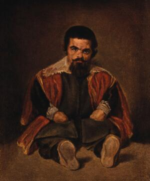view A dwarf at the court of King Philip IV of Spain. Colour print after D. Velazquez, 1648(?).