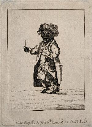 view A male dwarf, dressed eccentrically. Etching, 1781.