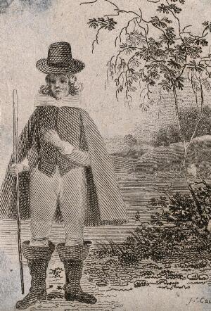 view A dwarf(?), in a country setting. Engraving.
