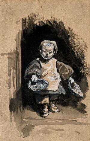 view A dwarf, or perhaps a child begging. Gouache drawing.