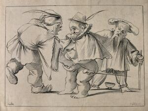 view Three male dwarfs. Lithograph by F. Piloty after J. Callot.
