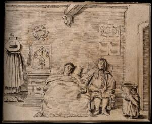 view A dwarf carrying a large jug into a room where a person is ill in bed. Pen and ink drawing after a design attributed to P.L. Ghezzi.