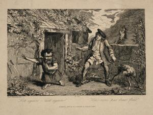view A dwarf throwing away a knife and exclaiming to a startled man and a dog, amidst a rural setting. Etching after G. Cruikshank, 1836.