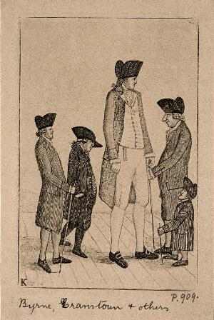 view Charles Byrne, a giant, George Cranstoun, a dwarf, and three other normal sized men. Etching by J. Kay, 1794.