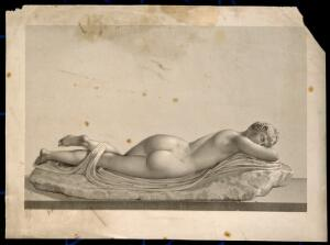 view Hermaphroditus sleeping. Steel engraving by J.B.H. Bourgois after P. Bouillon, 1808.