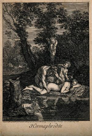 view Hermaphroditus asleep by a woodland lake, admired by a satyr with Cupid above. Engraving by B. Picart, 1693, after N. Poussin.