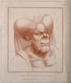 view Head and shoulders of a hideous old woman wearing an escoffin over a wimple. Colour stipple engraving by B. Pastorini, 1806, after L. da Vinci.