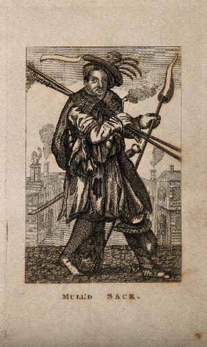 view A man in eccentric military costume, perhaps personifying mulled sherry. Etching.