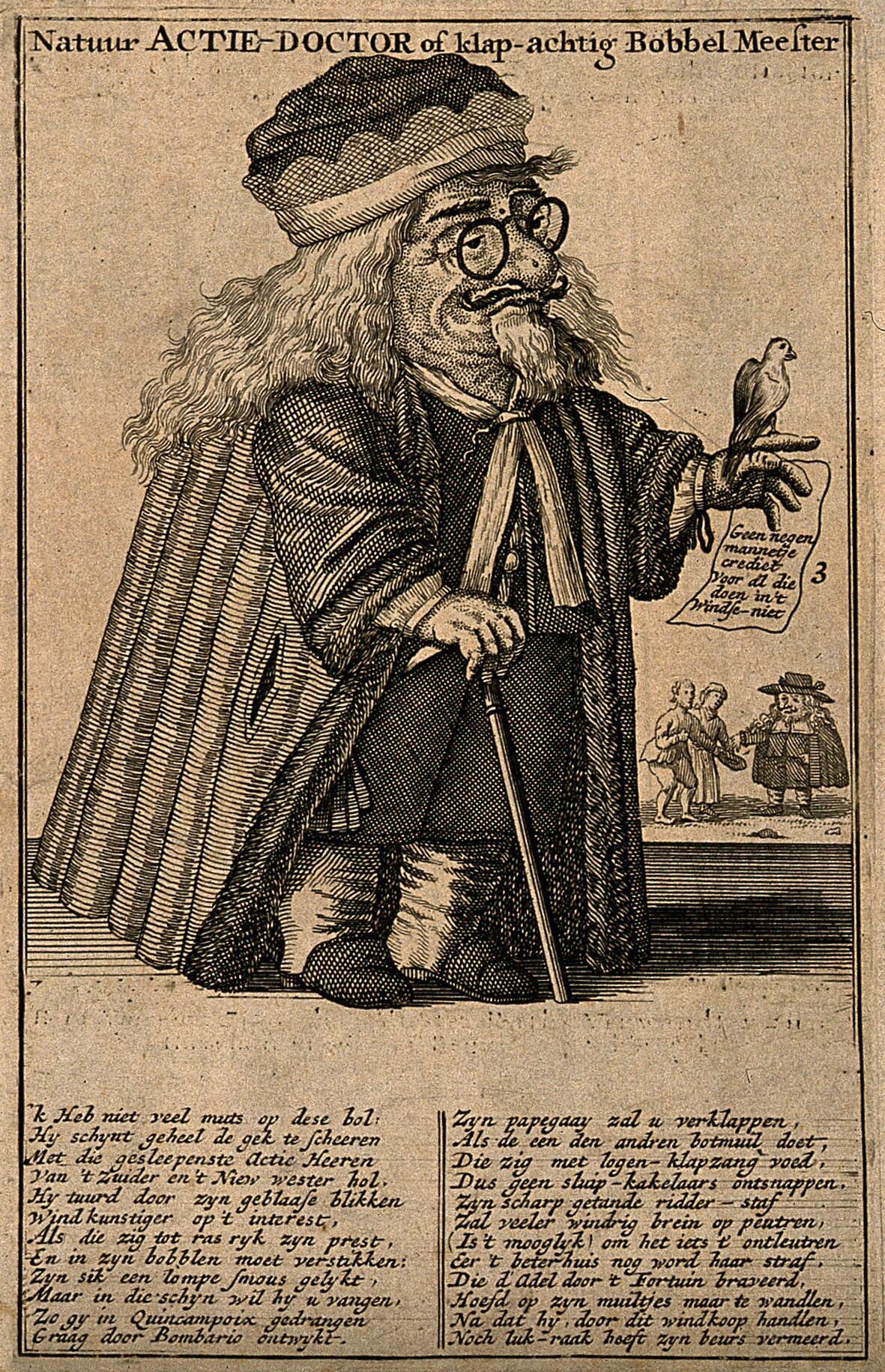 A Dutch Physician Involved In The Dutch Speculation Boom Of 1720 Holding A Parrot Engraving 1720 Wellcome Collection