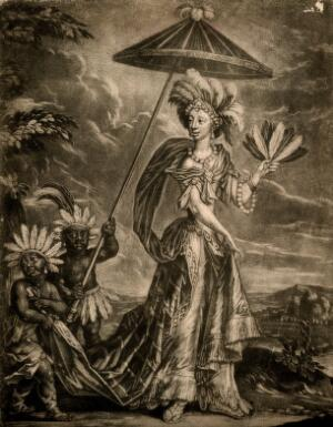 """view A character in the play """"The widdow Ranter"""": Semernia, a Native American queen, with two pageboys. Mezzotint by W. Vincent."""
