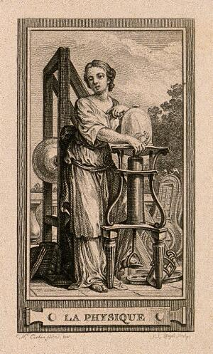 view A female figure with a vacuum pump; representing physics. Etching by C.L. de Lingée after C-N. Cochin the younger, c. 1773.