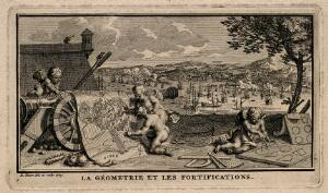 view Putti plan war manoeuvres on maps with the help of geometrical diagrams; representing geometry and military science. Etching by B. Picart, 1729, after himself.