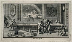 view Putti deprive a bird of air in a vacuum experiment, one plays at billiards, another plays with magnetised keys, while outside a storm rages: representing physics. Etching by B. Picart, 1729, after himself.