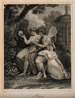 view Three fairies in a garden looking at the plants; representing botany. Stipple engraving by J. Chapman after R. Corbould.