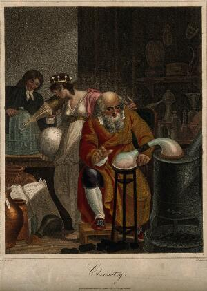 view A man conducts an alchemical experiment with an alembic, in the foreground, in the background a female figure representing the world observes a man of the new school of chemistry who prepares an oxygen experiment with a glass jar and a candle: a representation of the historical transition between alchemy and chemistry. Coloured stipple engraving by J. Chapman, 1805, after R. Corbould.