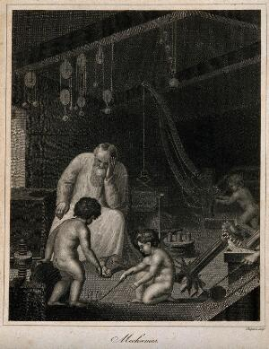 view An old man rests his head on his hand; cherubs play in a room filled with mechanical instruments; representing mechanical philosophy (or 18th century physics). Stipple engraving by J. Chapman, 1816.