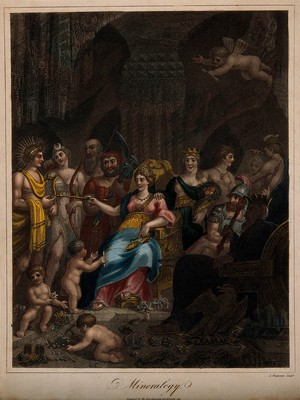 view A goddess sits among a crowd of mythological figures with musical instruments and weapons; representing mineralogy. Coloured stipple engraving by J. Chapman, 1817.