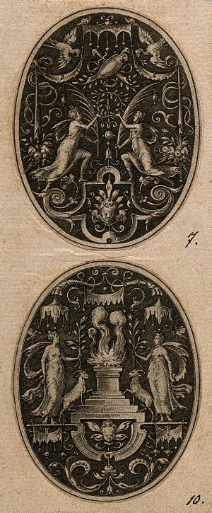 view Two women and two rams at a sacrifice. Engraving by E. Delaune, c. 1560.