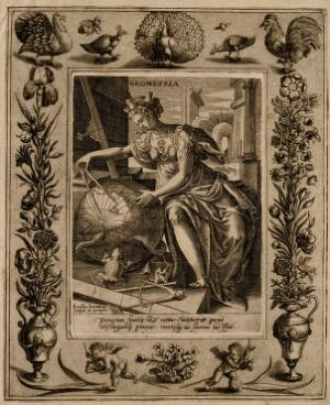 view A female figure with a castle on her head measures a globe with a compass; representing geometry. Engraving by A. Vallée after M. de Vos.