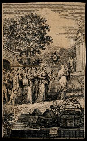 view A group of figures from antiquity are led into a garden by a woman with a telescope and a hand mirror. Etching.