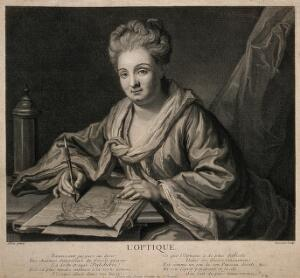 view A woman drawing at a desk; representing optics. Engraving by M. Dossier after G. Allou.