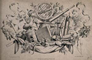 view Some scientific instruments and attributes of philosophy: gyroscopes, telescope, pestle and mortar, cosmological manuals. Lithograph by J-B-J. Jorand, 1835.